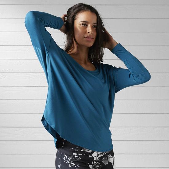 REEBOK STUDIO 女裝 上衣 長袖 慢跑 訓練 舞蹈 寬鬆 藍 【運動世界】 BK7434