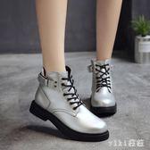 大尺碼馬丁靴女 英倫復古秋季韓版粗跟短靴厚底高幫鞋裸靴 nm6456【VIKI菈菈】