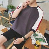 春夏季拼色七分袖t恤男潮 日繫寬鬆打底衫中袖男 青少年半袖限時八九折