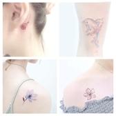 紋身貼 刺青 紋身貼防水女持久仿真韓國小清新可愛櫻花英文腳踝鎖骨性感花50張