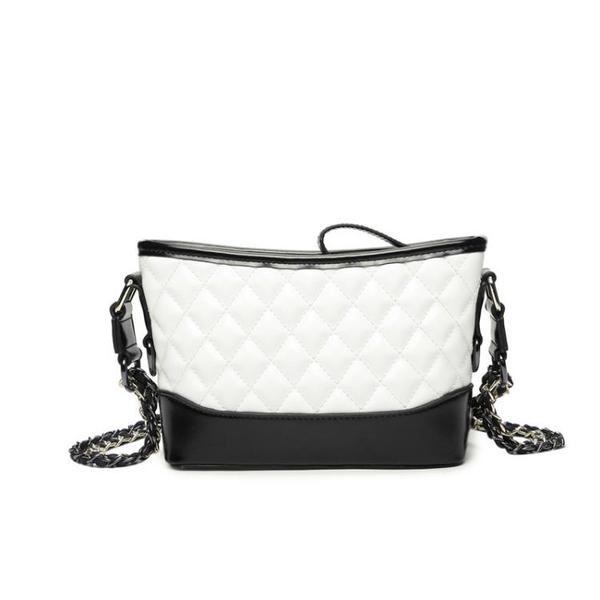 小香風鍊條包包女單肩斜挎水桶包流浪包