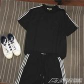 情侶短袖t恤原宿bf風 東大門寬鬆休閒運動套裝夏季三杠男 兩件套  潮流時