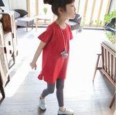 新款韓版春裝中長款女童短袖t恤PLL3585【男人與流行】