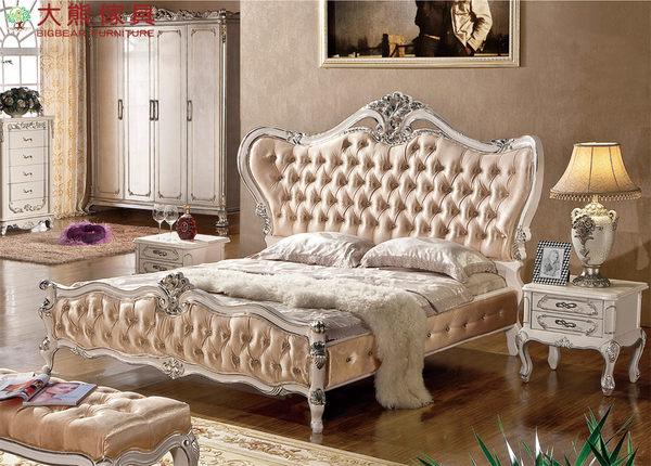 【大熊傢俱】801 新古典床 五尺床 床台 雙人床 皮床 歐式床 另售床尾凳 六尺床