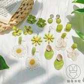 牛油果綠花朵耳釘清新可愛純銀針耳環耳飾品【貼身日記】