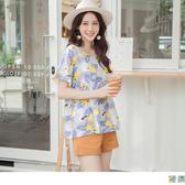 《AB12907》清涼渡假風印花拼接傘襬寬袖上衣 OrangeBear