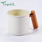 丹大戶外【Truvii】木柄琺瑯杯 400ml-月光白