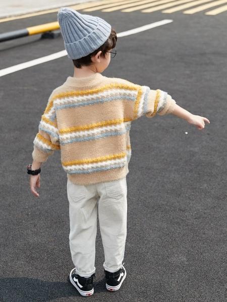 童裝男童毛衣套頭秋冬款2019新款洋氣兒童小童水貂絨針織衫加厚潮