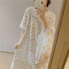 2021夏季新款日系可愛冰絲睡裙少女碎花薄款寬鬆睡衣女家居服甜美 依凡卡時尚