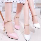 鞋子女2020春夏季新款細跟尖頭高跟鞋一字帶扣涼鞋女韓版潮流百搭【果果新品】