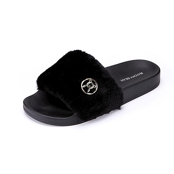 (女)ROCKY BEAR 保暖豹紋絨毛一字拖鞋-黑