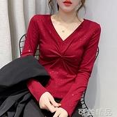 新款潮流女裝性感V領打結T恤女長袖春秋設計感洋氣上衣打底衫 雙12全館免運