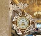 美式復古雙面鐘歐式掛鐘客廳靜音田園掛鐘藝術鏤空雙面掛鐘