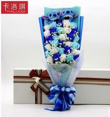 卡通仿真花束【32朵+2史迪奇】【藍星居家】