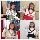 秋季女裝正韓學院風時尚寬鬆百搭針織衫無袖背心短款馬甲上衣外套