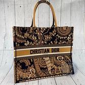 BRAND楓月 Christian Dior 迪奧 深藍 黃底 非洲猴子圖騰 BOOK TOTE 手提包 托特包 刺繡