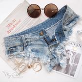 XS-2L 超低腰牛仔褲【自我風格】率性丹寧情趣熱褲(藍色) MyDoll