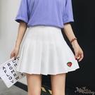 刺繡草莓百褶裙 女春2020新款裙子軟妹學院風短裙防走光半身裙 BT22227『bad boy時尚』