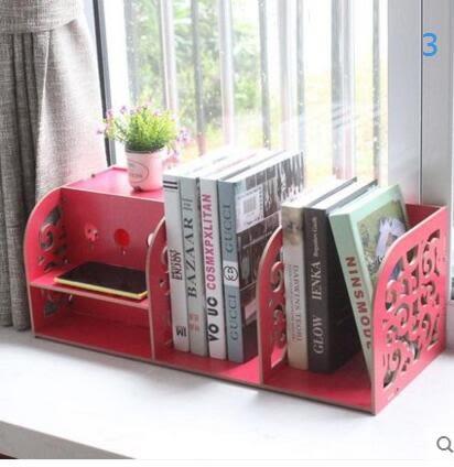 藍格子 現代簡約簡易桌上書架置物架辦公資料架木質大號歐式雕花