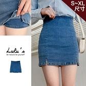 LULUS【A05200142】K自訂款小開叉內襯褲牛仔短裙/褲裙S-XL藍