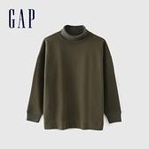 Gap女裝 碳素軟磨系列 純色高領長袖 591859-橄欖綠