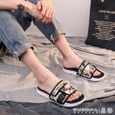 涼鞋夏季拖鞋男時尚外穿韓版個性一字拖情侶室外防滑涼鞋潮流 免運