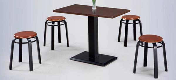 【 IS空間美學】3.5X2尺鐵刀木餐桌+胡桃實木圓餐椅(一桌四椅)