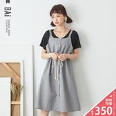 吊帶裙 十字紋排釦綁帶傘擺背心連身裙-BAi白媽媽【160280】