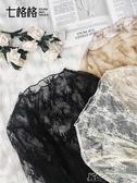 黑色蕾絲打底衫長袖秋裝女鏤空內搭寬鬆碎花網紗上衣小衫 卡卡西