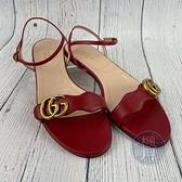 BRAND楓月 GUCCI 古馳 紅色GG 露趾涼鞋 #39 經典 金色 LOGO 平底鞋 休閒鞋 鞋子 涼鞋