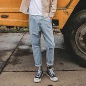 【免運】秋季破洞牛仔褲子男士 正韓潮流修身小腳寬鬆休閒乞丐直筒褲 隨想曲
