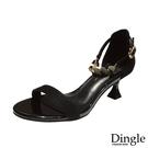 Dingle丁果ღ時尚金屬造型一字帶性感细跟高跟鞋(三色34-41)