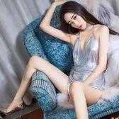 喜夜低胸深V性感夜店睡衣睡裙情趣內衣激情極度誘惑火辣騷成人女   提拉米蘇