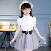 (萬聖節鉅惠)短袖襯衫女童白襯衫短袖棉質中大童夏季正韓翻領襯衣兒童演出服泡泡袖公主