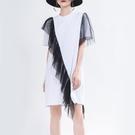 短袖洋裝-撞色網紗拼接時尚女連身裙2色7...