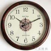 實木簡約歐式美式復古圓形掛鐘錶石英鐘中式客廳靜音時鐘 小艾時尚NMS