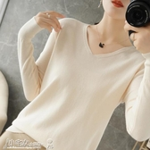長袖針織上衣 春秋新款羊絨衫女v領薄款毛衣寬鬆針織長袖羊毛打底衫時尚上衣潮 小宅女