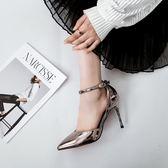 高跟鞋  時尚尖頭中空高跟鞋一字扣帶包頭涼鞋細跟香檳色女鞋百搭銀色單鞋-大小姐韓風館
