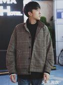 休閒外套 冬季韓版寬鬆休閒外套男士ins立領夾克潮流港風學生格子男上衣 米希美衣