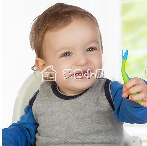 兒童餐具寶寶訓練學吃飯勺子嬰兒彎頭輔食叉勺套裝多色小屋