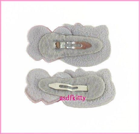 個人 嬰童用品【asdfkitty可愛家】KITTY雙愛心銀色大臉髮夾-歐美版正版商品