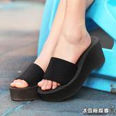 簡約高跟女士涼拖鞋 夏季防滑松糕坡跟厚底沙灘一字拖鞋潮