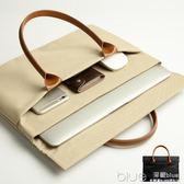 男包手提包橫款公文包男士商務包 帆布包 蘋果電腦包女士休閒包 深藏blue
