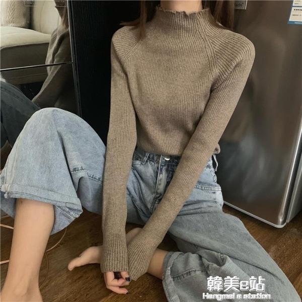 半高領打底衫女秋冬新款純色韓版學生氣質修身長袖針織衫上衣 韓美e站