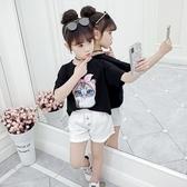 衣童趣↘韓版中大女童 可愛貓咪印花 夏日短袖T恤【現貨】