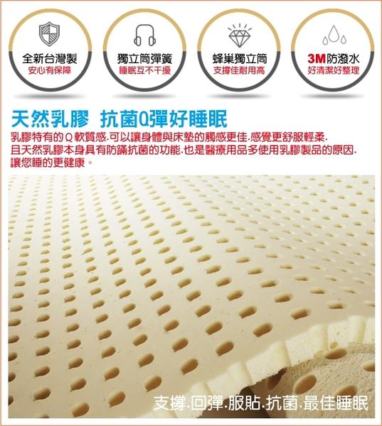 床墊 獨立筒 睡芝寶-正三線乳膠-竹碳紗-抗菌除臭防潑水蜂巢獨立筒床墊-單人3.5尺-破盤價7500