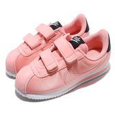 Nike 阿甘鞋 Cortez Basic TXT VDAY PSV 粉紅 白 魔鬼氈 童鞋 情人節 緞面設計 中童鞋【PUMP306】 BQ7099-600