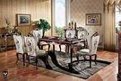 【大熊傢俱】RE801 新古典長餐台 方桌 餐桌 雕花面  餐椅 靠背椅  鄉村風 歐式餐台