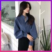 襯衫 港味復古立領單排扣藍色襯衫女秋裝新款休閒寬鬆時尚長袖上衣 鉅惠85折