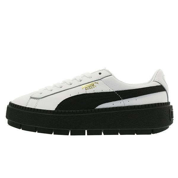 PUMA PLATFORM TRACE 女鞋 休閒 復古 鬆糕鞋 增高 白 黑【運動世界】36610902
